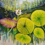 Green Shimmer, Lotus Lily Pond Original Oil