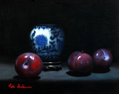Plums And Ginger Jar Vicki Sullivan Art Lovers Australia Oil On Linen H19cm X W 24cm