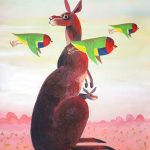 Kangaroo with Flock of Gouldian's