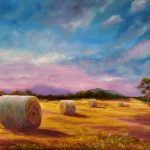 Hay bales at dusk, near Leongatha