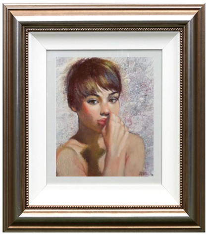 25.5x21 Acryl & Oil On Bopard Thoughtful Fr