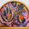 Carita Farrer Spencer Safari Sunset Acrylic On Maple Ply With American Oak Arch Frame