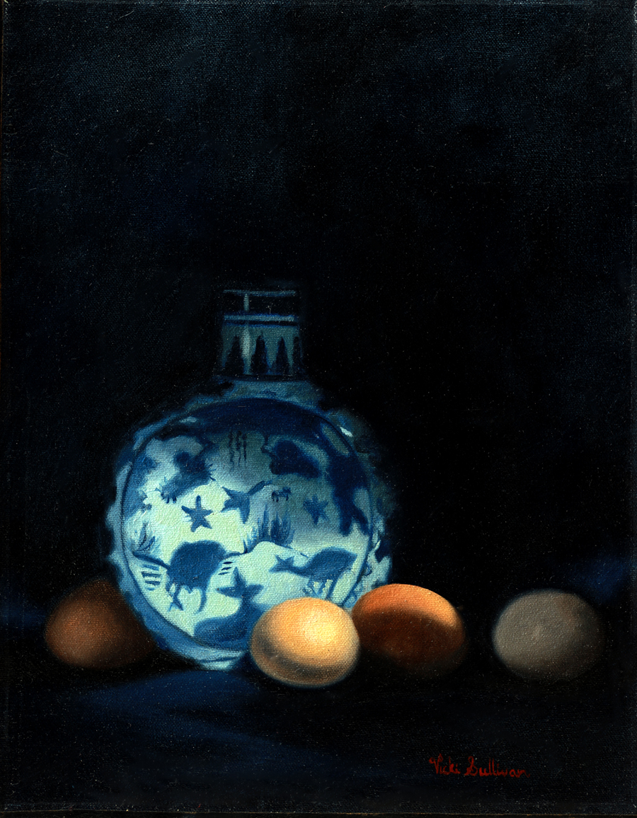 Moon Vase With Brown Eggs Oil On Canvas H 35cm X W 28cm