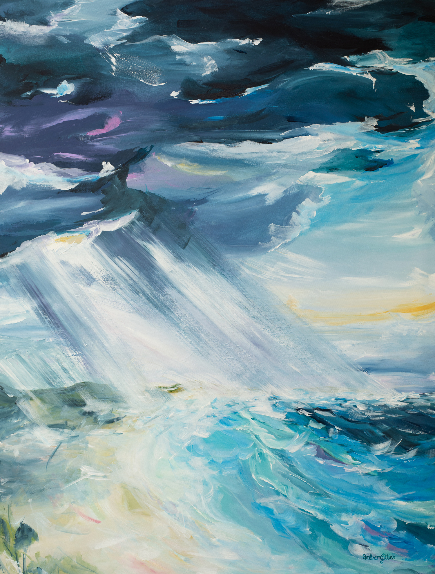 Storm Rolling In Beach Landscape Painting