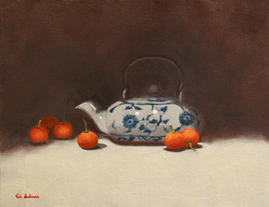 Teapot With Cumquats Oil On Canvas H 28cm X W 36cm