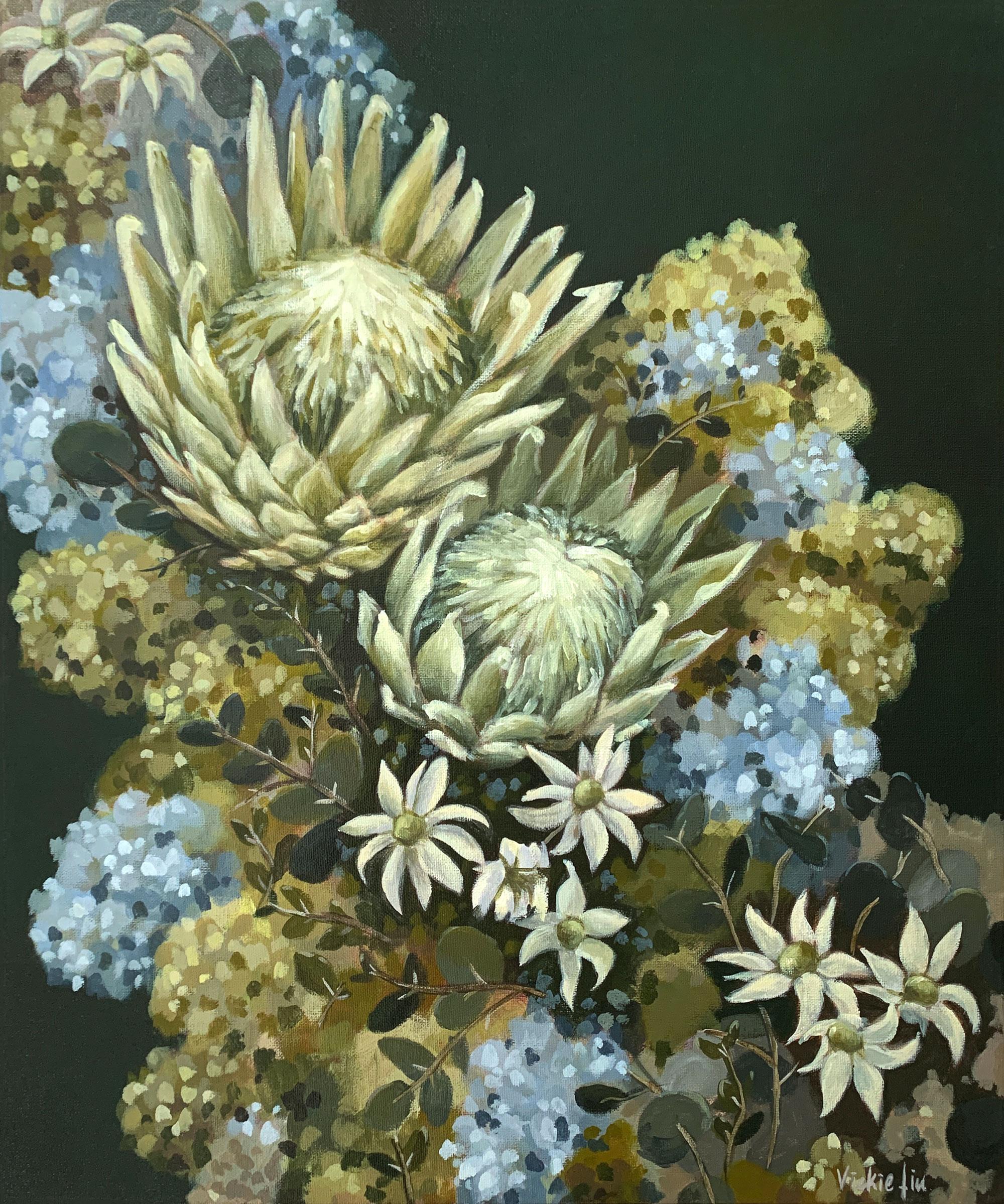 Vickie Liu Flannel Flowers Proteas And Hydrangeas 50×60
