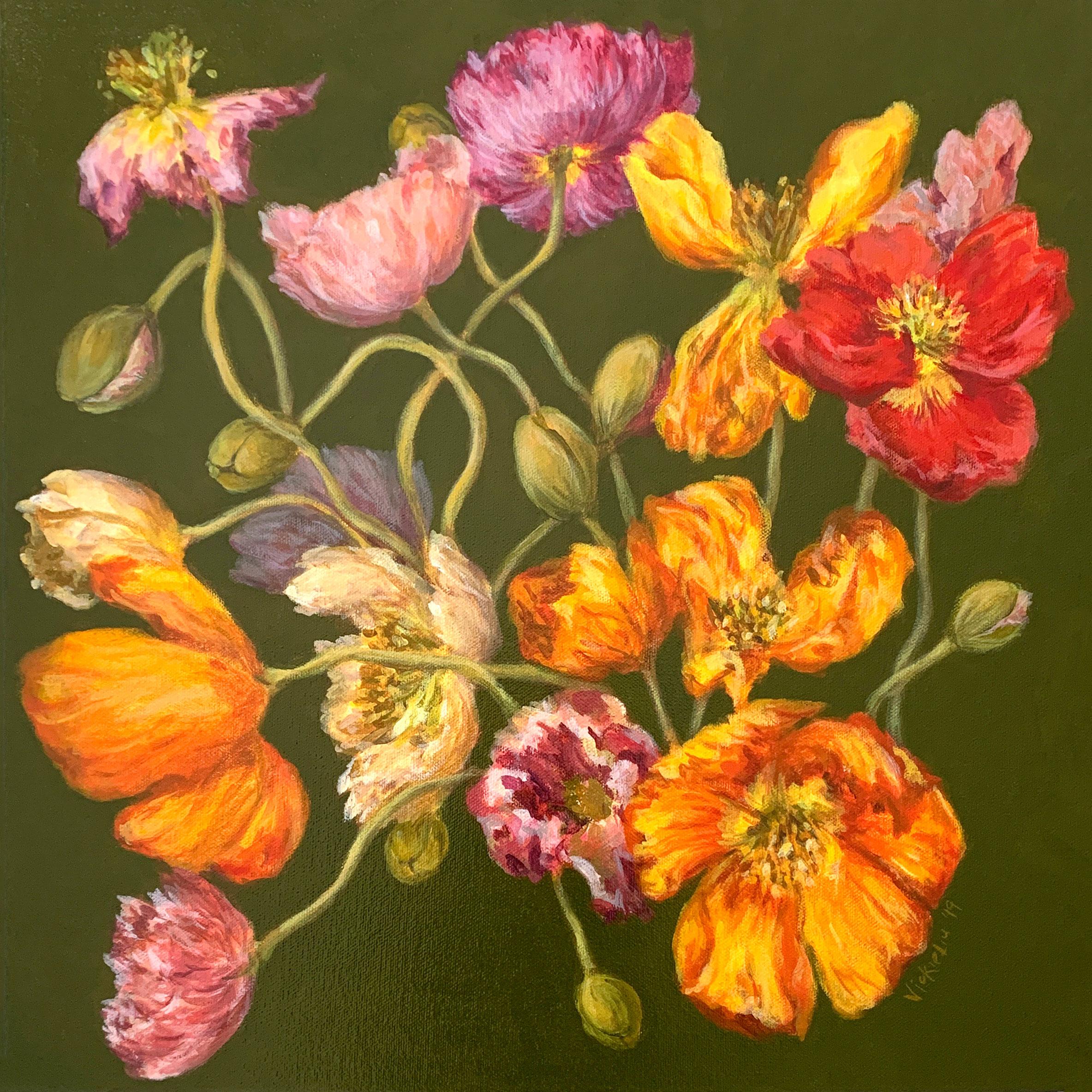 Vickie Liu Spring Poppies 45×45