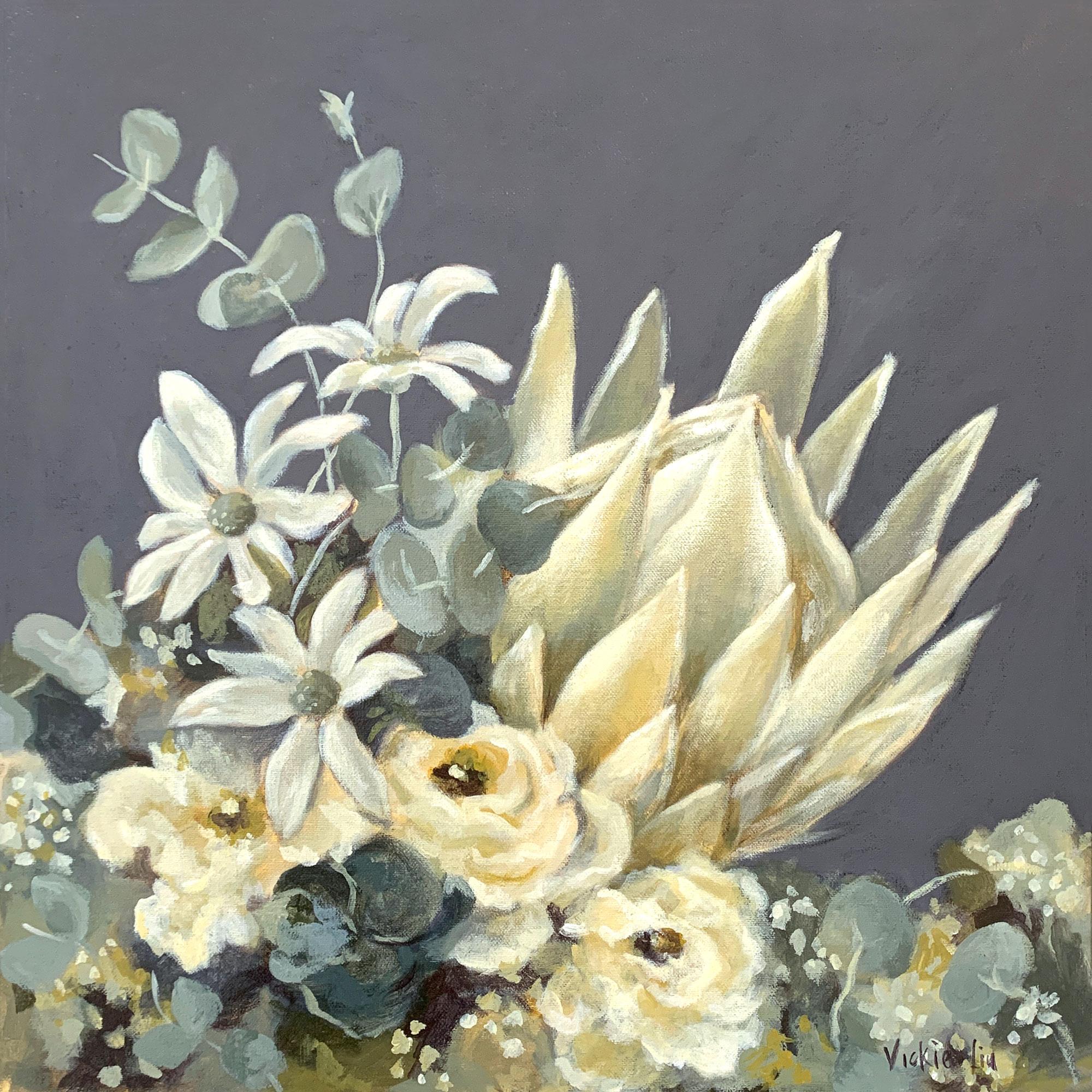 Vickie Liu White King Protea 45×45
