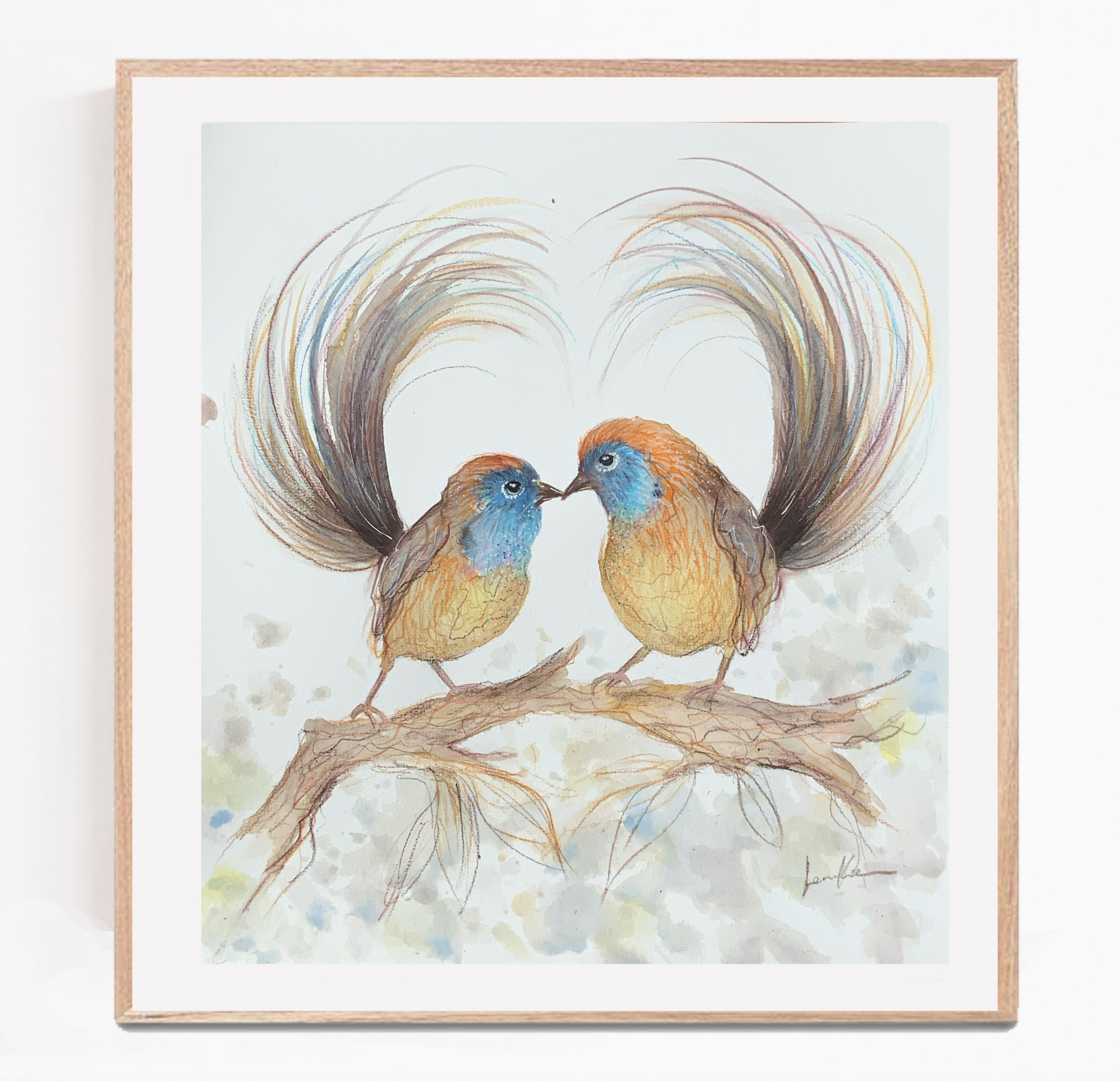Sydney Artist Leni Kae Emu Wren Love Original Art