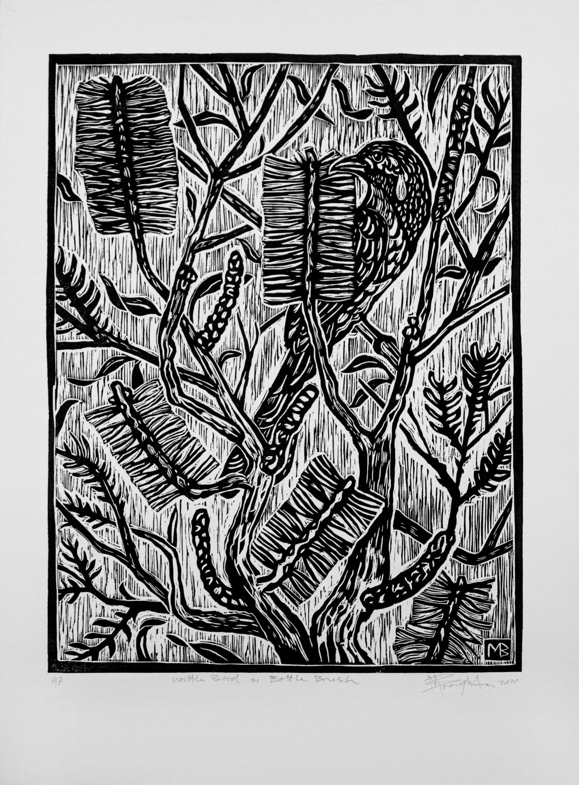 Wattle Bird And Bottle Brush Linocut 2 Copy