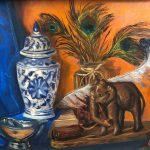 Wooden elephant, Lyrebird and peacock feathers – still life