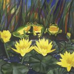 3 frogs on water lilies Ltd Ed Print