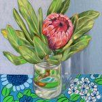 Pink Protea and Barkcloth Blue