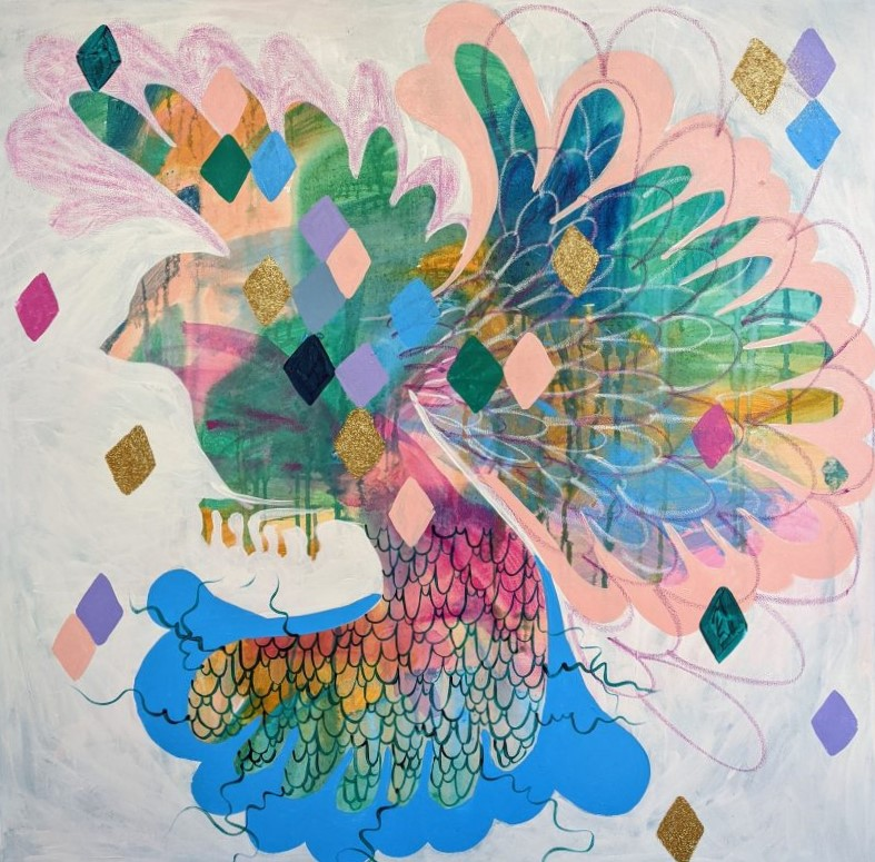 Betty Blue Abstract Bird Painting