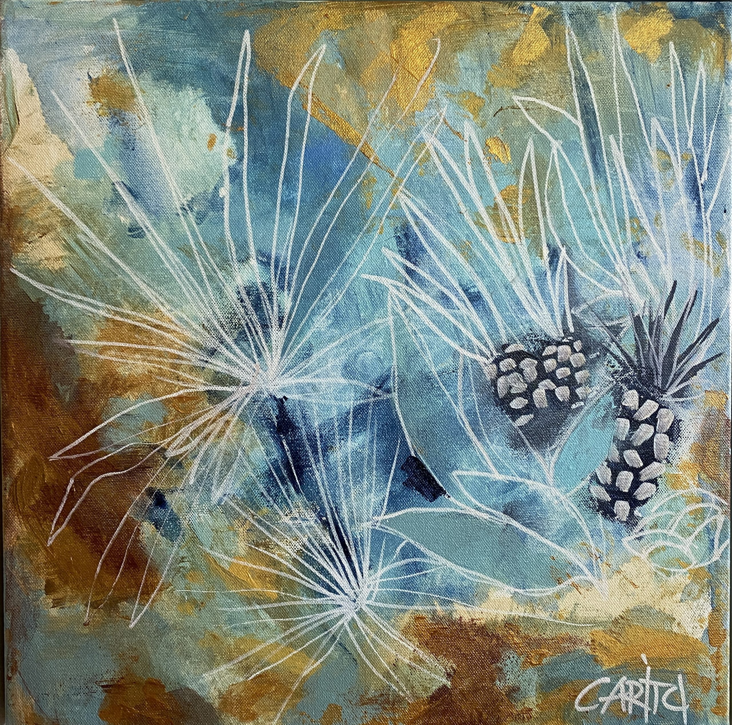 Carita Farrer Spencer Un Poco Agave 40x40cm Acrylic On Canvas