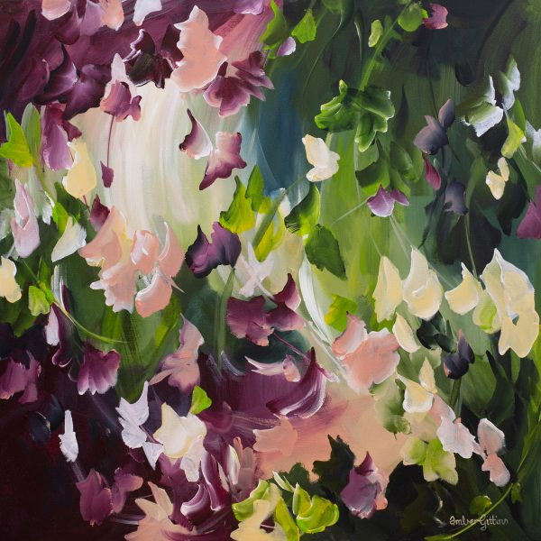 Charming Moment Abstract Floral Painting By Amber Gittins Artwork