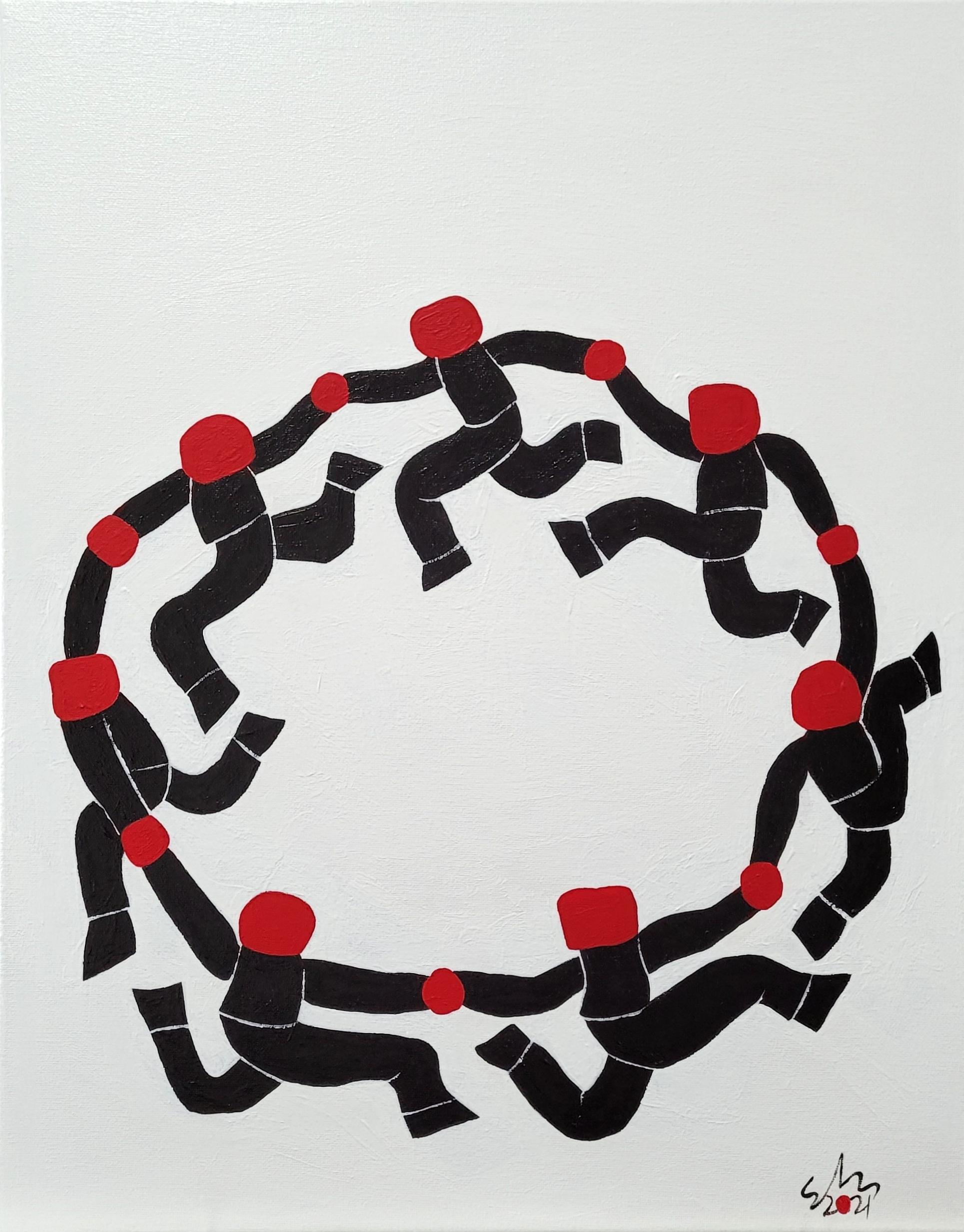 Circle Dance Black 2021 Acrylic On Canvas 40.6cm X 50.8cm X 1.5cm