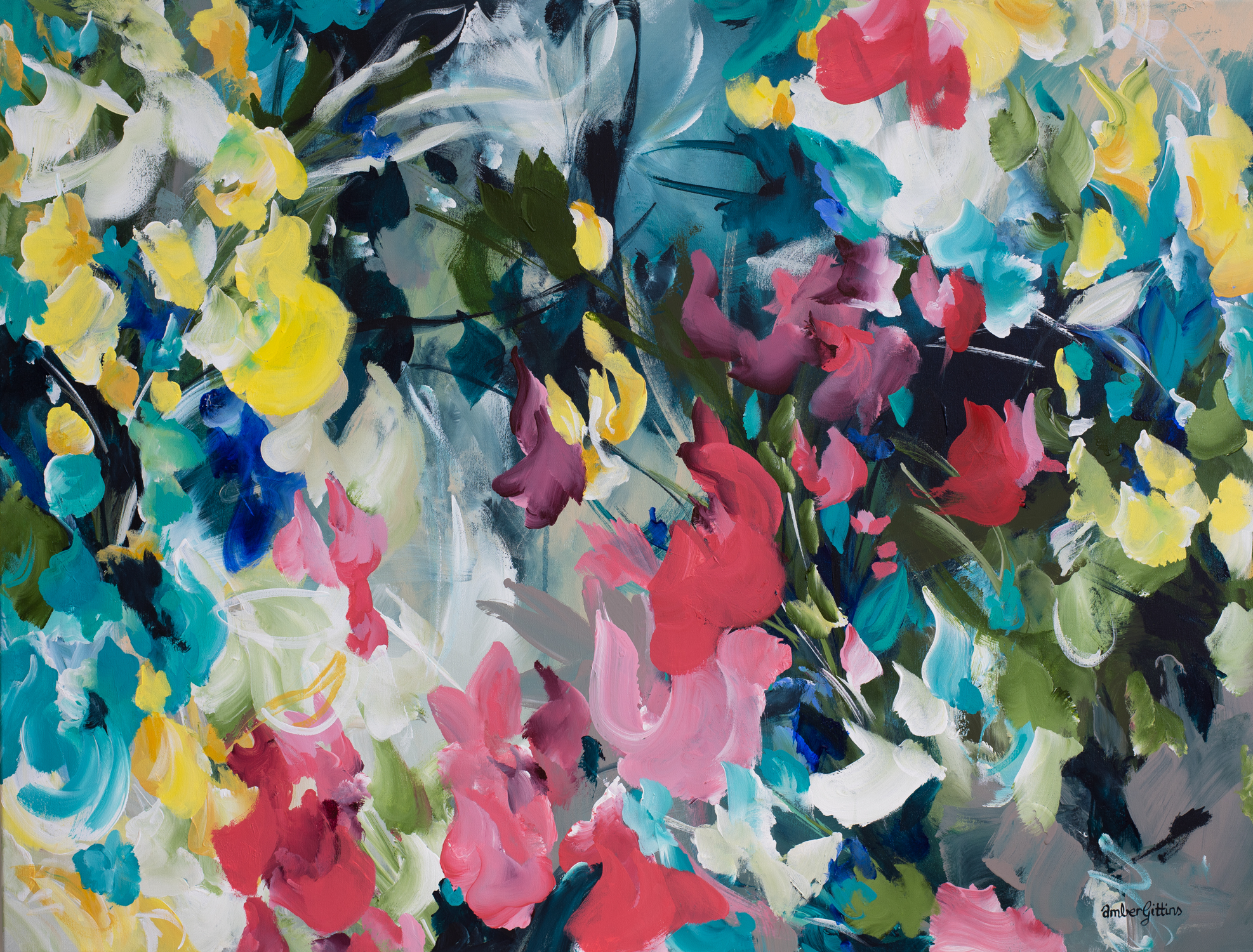 Crazy Love Floral Abstract Painting By Artist Amber Gittins