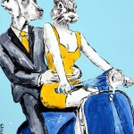 He hoped that her parents didn't find out he rode a vespa Ltd Ed Giclee Print