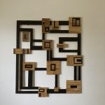 Geometric wooden wall sculpture