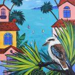 Kookaburra in abstract Australian landscape