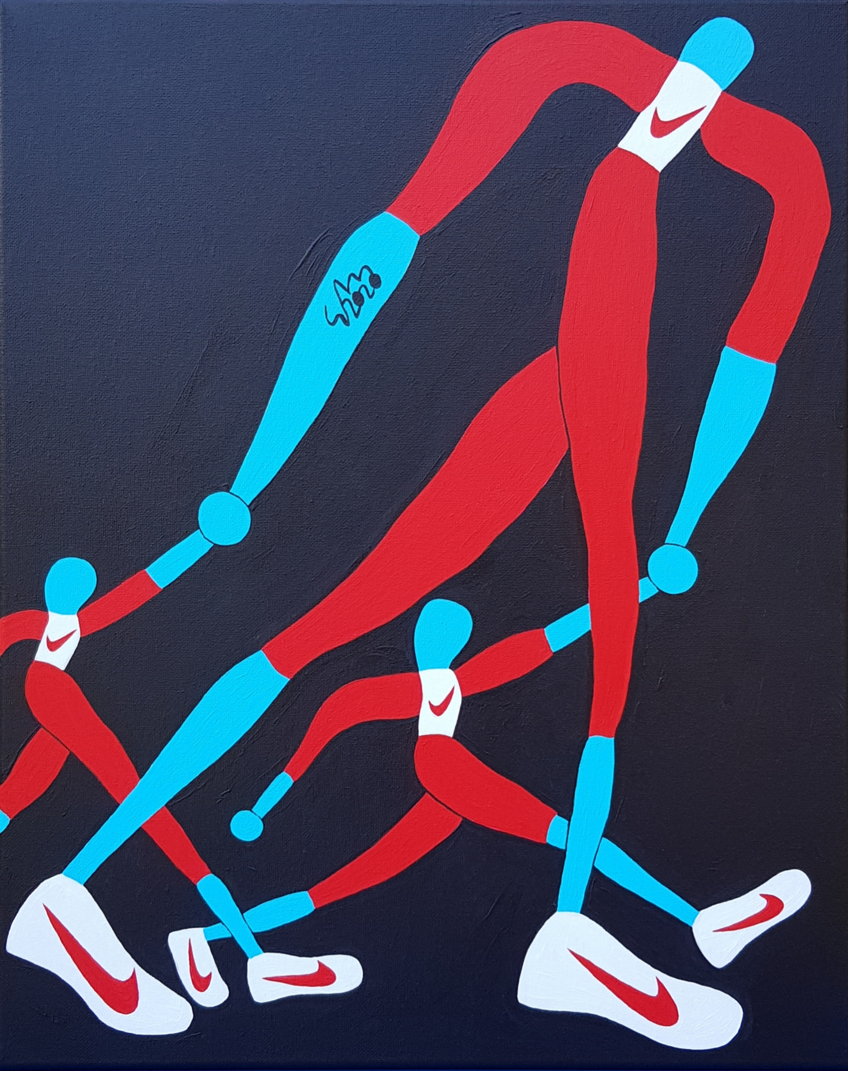 Mr. Nike Taking Children To A Sporting Event 2020 Acrylic On Canvas 40.6cm X 50.8cm X 1.5cm