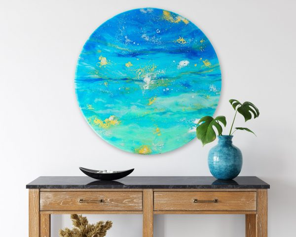 Ocean Resin Art Metallic Gold Round All That Shimmers By Michelle Tracey