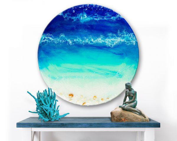 Ocean Resin Art With Real Crystals Shells Round Ocean Blue By Michelle Tracey