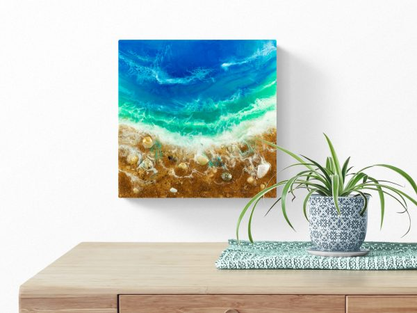 Ocean Resin Art With Sand And Shells A Wandering Tide By Michelle Tracey