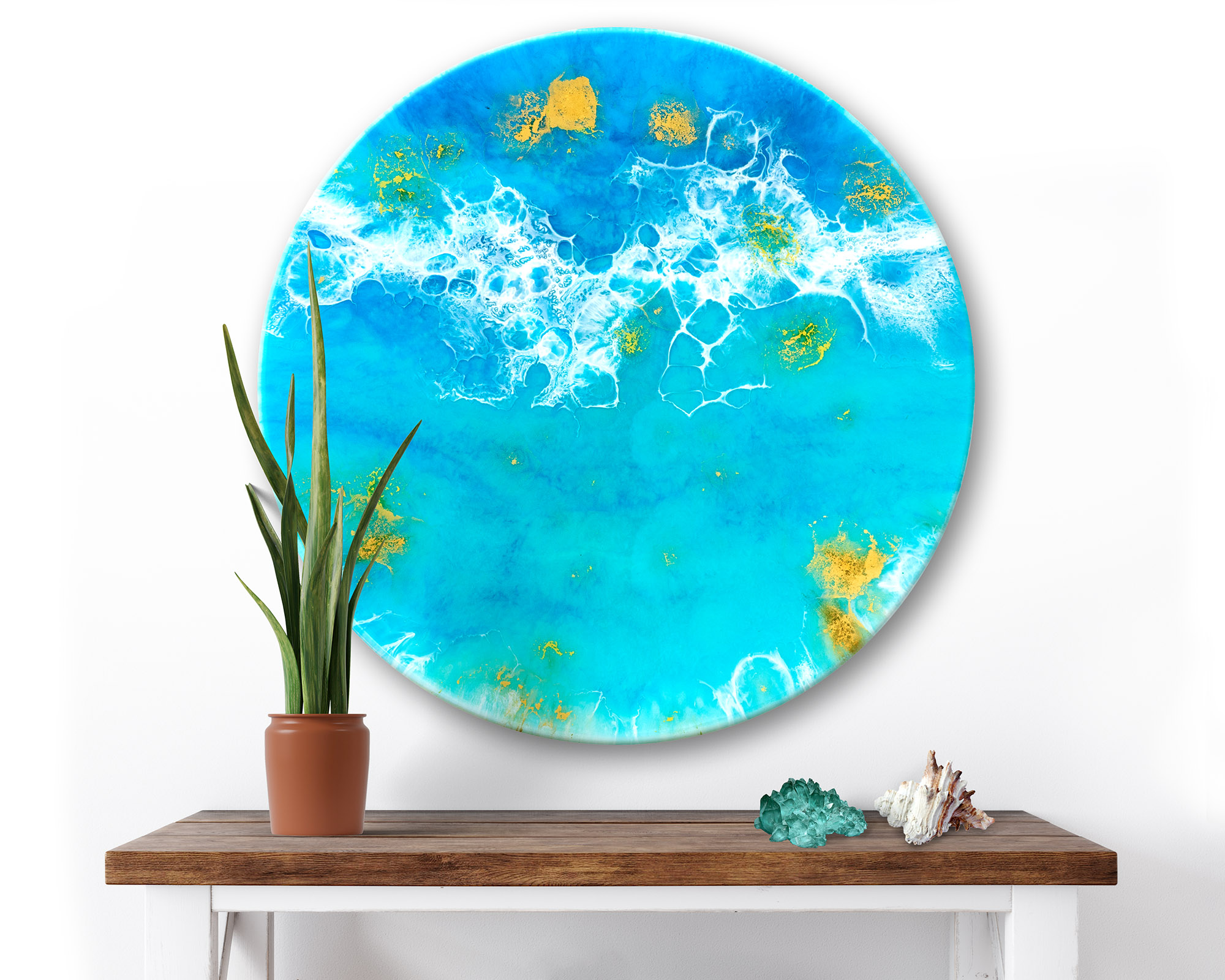 Ocean Resin Wave Art Metallic Gold Round Shimmer By Michelle Tracey