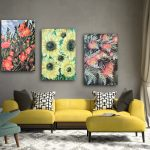 Wild Botanical Abstract Series – Sunflower, Camellia and Grevillea – Triptych