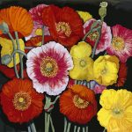 Small coloured poppies Ltd Ed Print