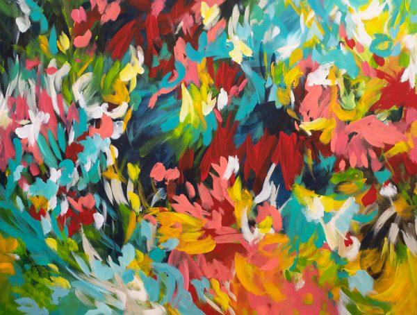 Splash Paradise Colourful Abstract Painting By Australian Artist Amber Gittins