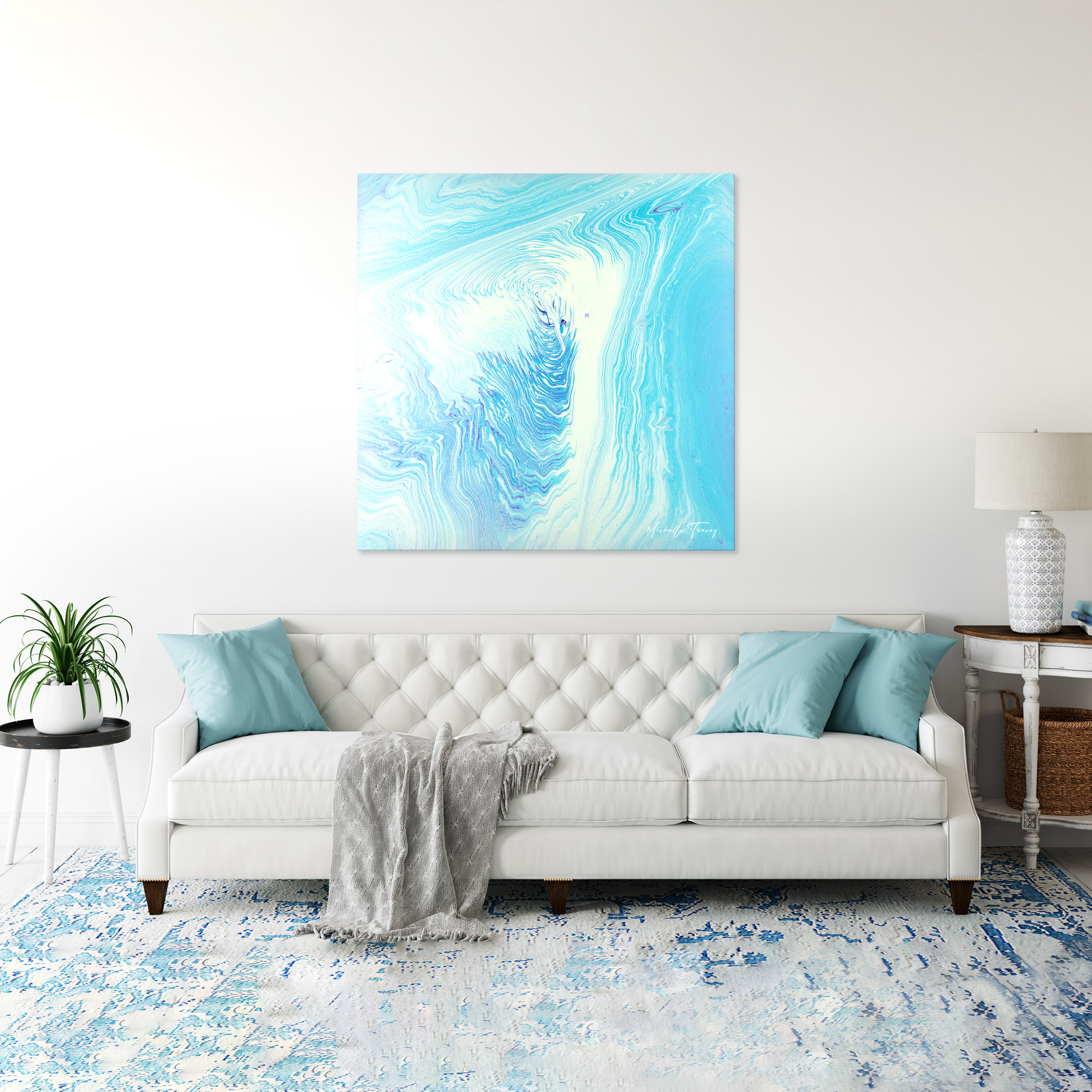 White Turquoise Abstract Dreamy Spirit Visions By Michelle Tracey