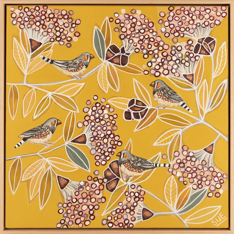 Zebra Finches In Summer Blossoms Wood Frame Bird Paintings
