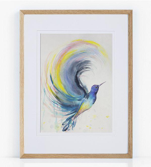 Artist Leni Kae Hummingbird Rainbow Framed Eg