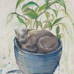 Cat Sitting in a Pot Plant