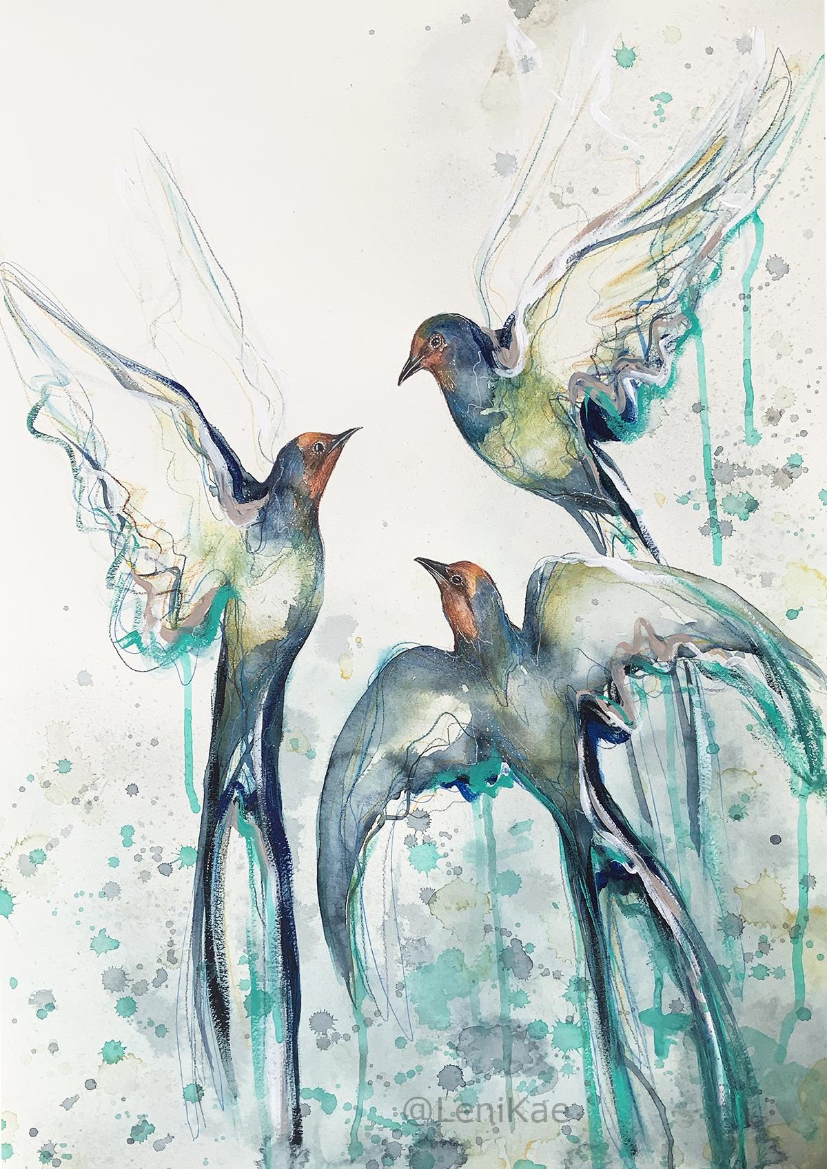 1a.sydney Artist Leni Kae Flight Of The Swallows Bird Painting
