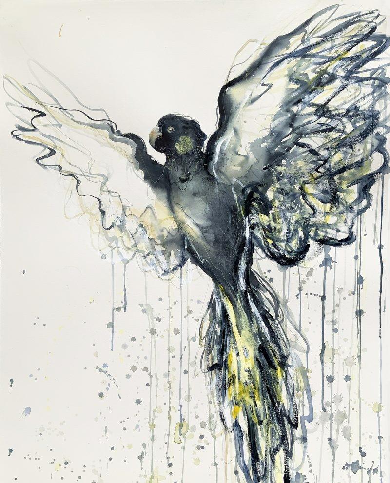 2a. Sydney Artist Leni Kae Flight Of The Yellow Tailed Black Cockatoo Bird Art Painting 800x1024