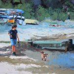 Boy Walking Dog