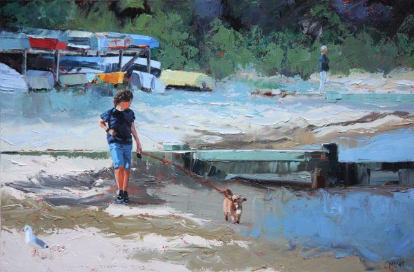 Boy Walking Dog Unframed