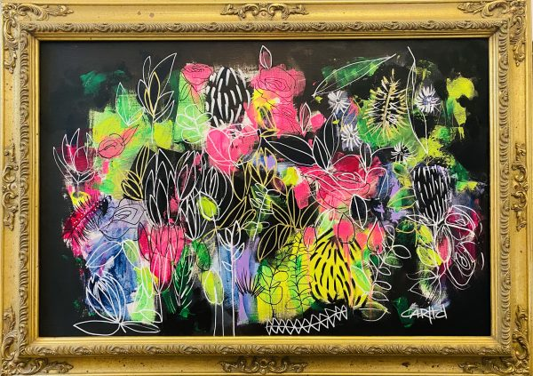 Carita Farrer Spencer Fancy Floral 110 X 80cm Acrylic On Canvas Gold Antique Frame