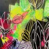 Carita Farrer Spencer Fancy Floral Detail #3 110 X 30cm Acrylic On Canvas