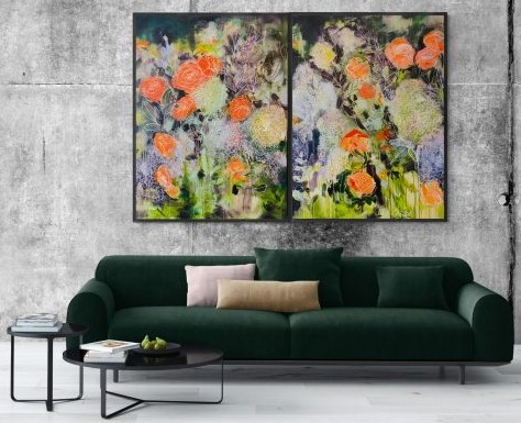 Carita Farrer Spencer Floral Road Diptych Insitu With Lounge 2 600x450