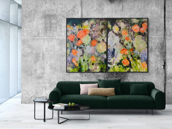 Carita Farrer Spencer Floral Road Diptych Insitu With Lounge 2