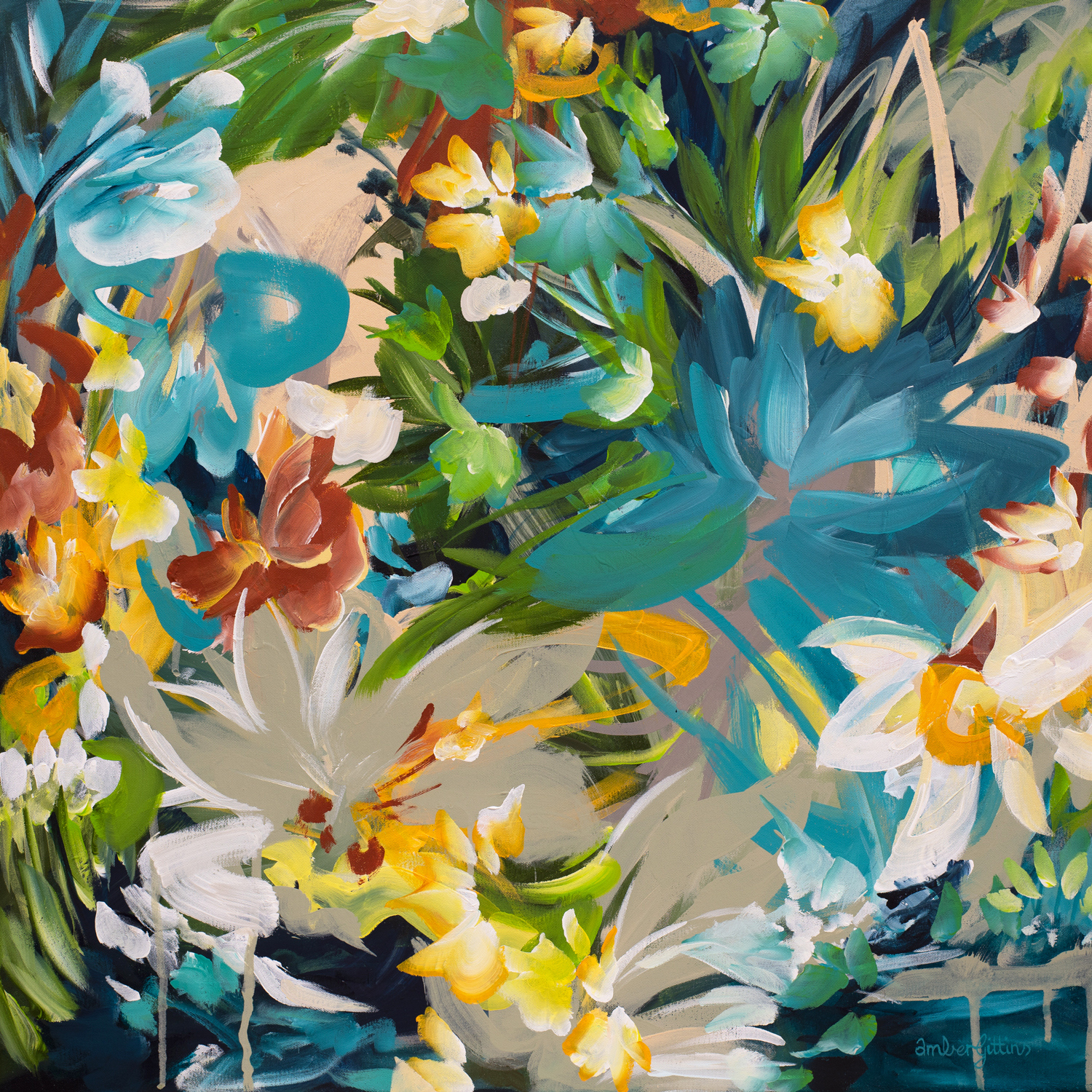 Hide And Seek Botanical Abstract Painting
