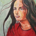 Portrait girl in a red tee shirt