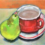 Still life red cup and pear