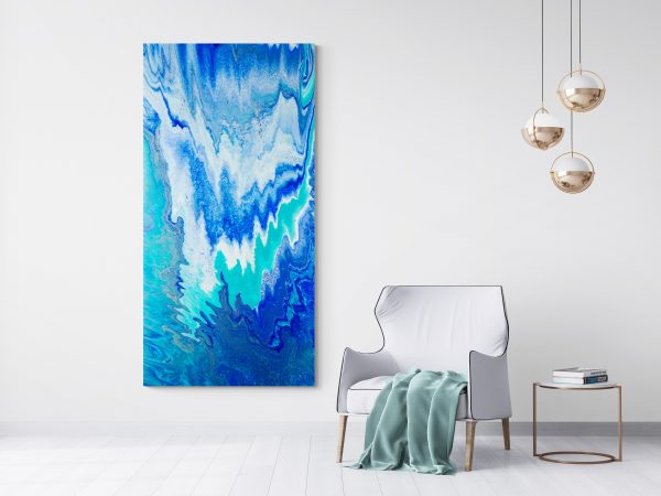 Large Blue Abstract Painting Vertical Blue Abyss By Michelle Tracey