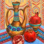 Oriental Still Life With Pomegranates